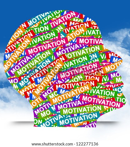 Business Idea Concept Present By Colorful Motivation Label in Head in Blue Sky Background - stock photo