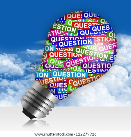 Business Idea Concept Present By Colorful Question Label in Light Bulb in Blue Sky Background - stock photo