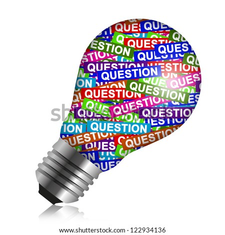 Business Idea Concept Present By Colorful Question Label in Light Bulb Isolated On White Background - stock photo