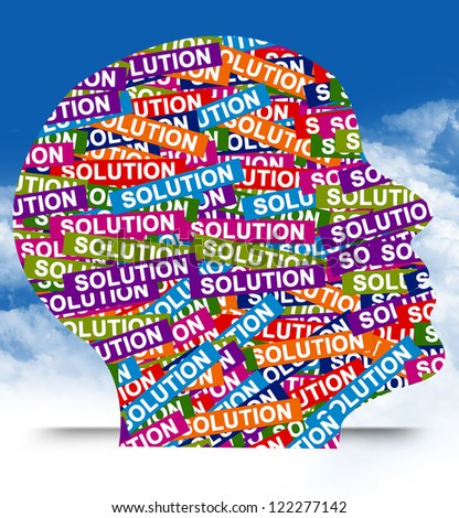 Business Idea Concept Present By Colorful Solution Label in Head in Blue Sky Background - stock photo