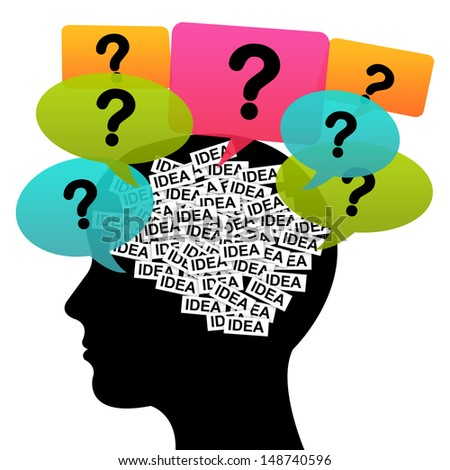 Business Idea Solution Concept Present by Black Head With Idea Label in Brain and Colorful Question Balloon Around Isolated on White Background  - stock photo