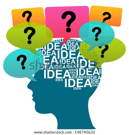 Business Idea Solution Concept Present by Blue Head With Idea in Brain and Colorful Question Balloon Around Isolated on White Background  - stock photo