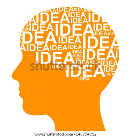 Business Idea Solution Concept Present by Orange Head With Idea Text in Brain Isolated on White Background  - stock photo