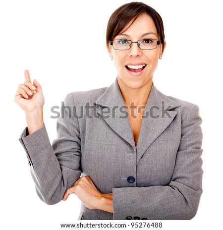 Business idea - woman  poiting up isolated over a white background