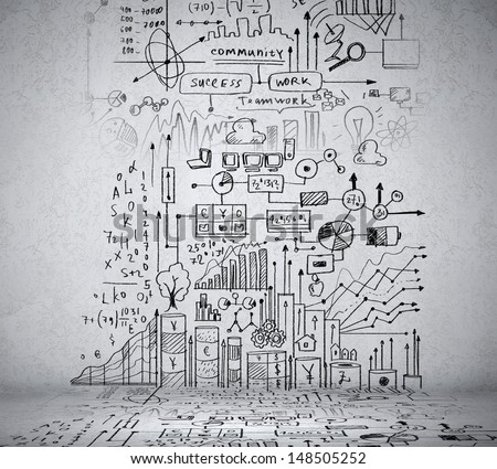 Business ideas sketch drawn on light wall - stock photo