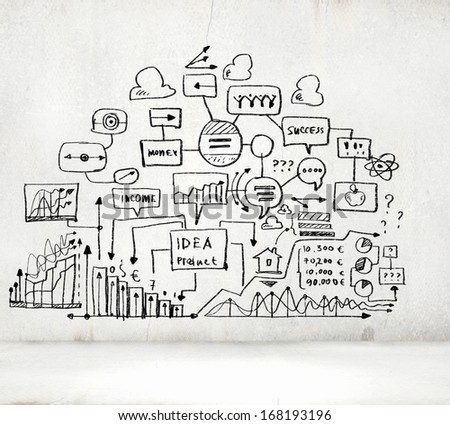 Business ideas sketch image on white background