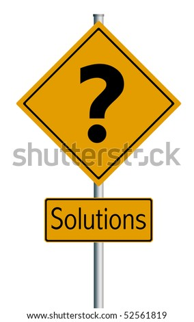 Business Illustration Questions + Solutions  - Traffic sign, isolated on white background