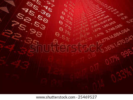 Business illustration showing stock market figures on a grid - stock photo