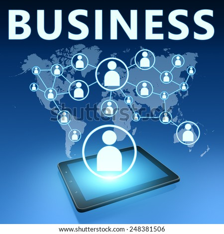 Business illustration with tablet computer on blue background - stock photo