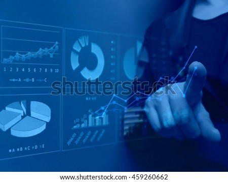 Business image graph and women - stock photo