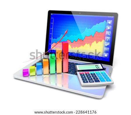 Business improvement and finance success analyzing concept. Laptop with growth diagram and electronic calculator on keyboard. 3d image 		 - stock photo