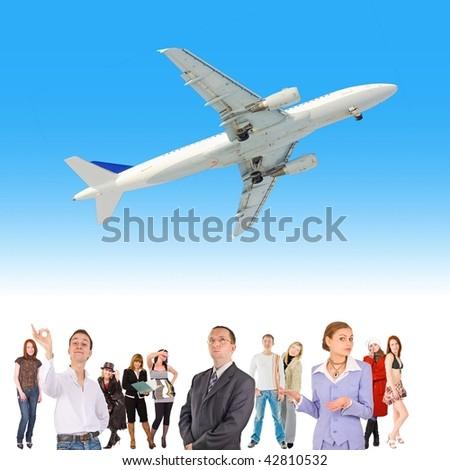 Business in flight - stock photo