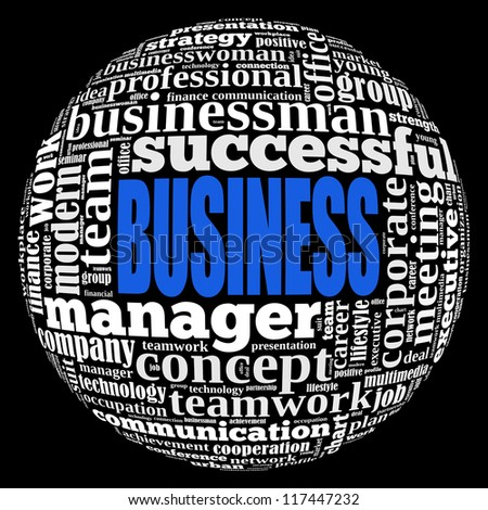 Business info-text graphics and arrangement concept on black background (word cloud) - stock photo