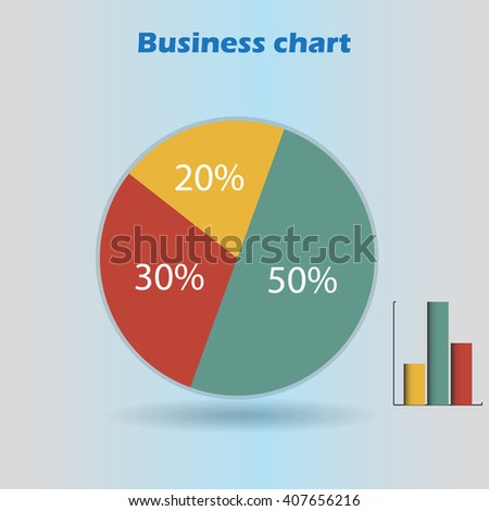 business infographic form blank live pie and column graph circle percentage blue yellow red chart 20 30 50 % set illustration round raster
