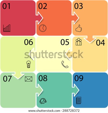Business Infographic illustration. Can be used for workflow layout, banner, diagram, number options, step up options, web design. Raster version - stock photo