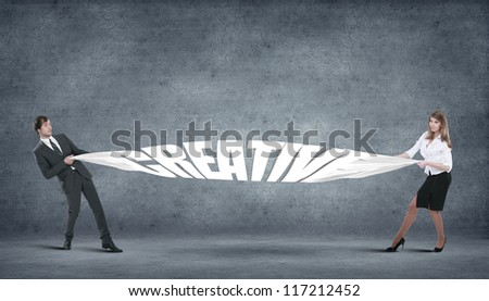 Business innovation creative idea for you over grey background - stock photo