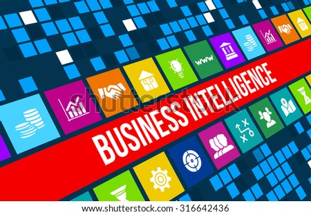 Business intelligence concept image with business icons and copyspace. - stock photo