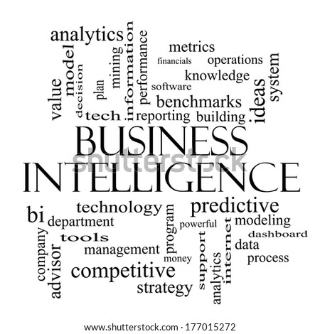 Business Intelligence Word Cloud Concept in black and white with great terms such as predictive, modeling, analytics and more. - stock photo