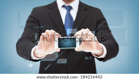 business, internet and technology concept - businessman showing smartphone with blank black screen