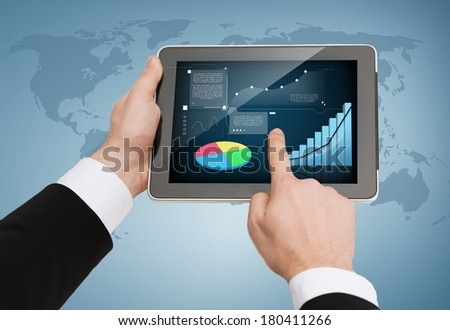 business, internet and technology concept - close up of man hands touching tablet pc - stock photo