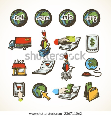 Business internet online shopping icons set of ecommerce retail domains cart purchase and global delivery sketch  illustration - stock photo
