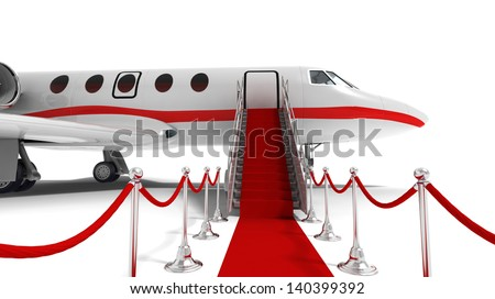 business jet and red carpet on white background - stock photo