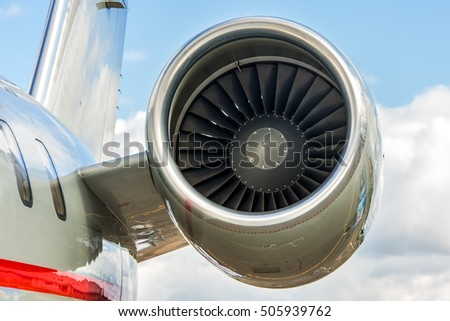 Business jet engine close up high detailed view