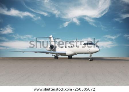 Business jet plane. - stock photo