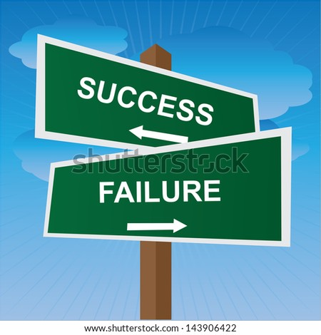 Business, Job Career or Financial Concept Present By Green Two Way Street or Road Sign Pointing to Success and Failure in Blue Sky Background