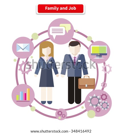Business job icons in flat design around family. Job family concept. Balance between work and family life. Family and job. Husband manager. Wife manager. Circulation job and family. Raster version - stock photo