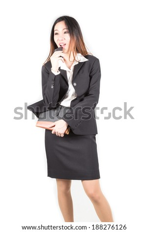 Business lady answering the phone with a smile white background. - stock photo