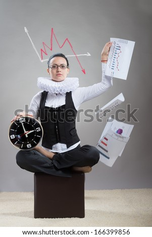 Business lady in ruff collar with a clock scattering the papers with the graphs - stock photo