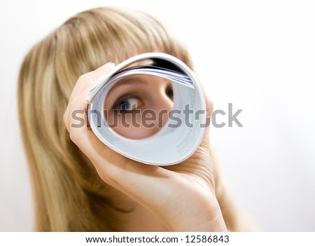 Business lady looking to you - stock photo