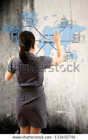 Business lady pushing LAN Network diagram on the w - stock photo