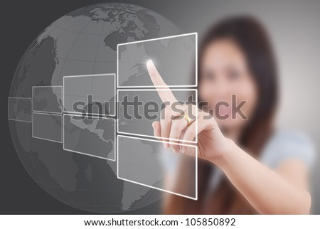 Business lady Touching button on the whiteboard. - stock photo