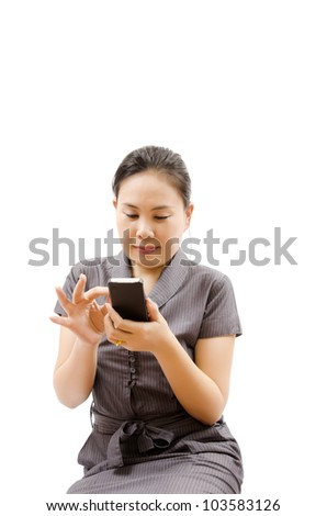 Business lady touching on mobile phone isolated. - stock photo