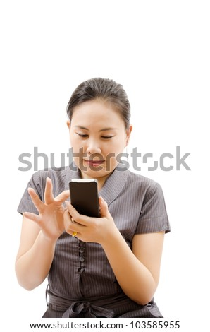 Business lady touching on mobile phone isolated.