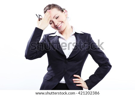 Business lady with glasses - stock photo