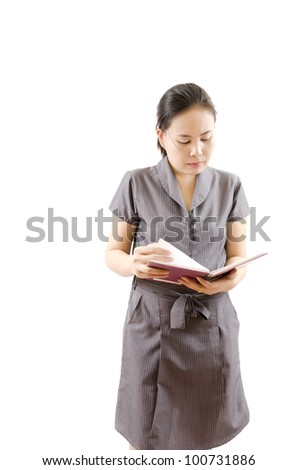 Business lady working with notebook isolated.