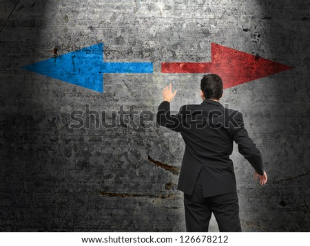 Business leader and decision making process with arrows concept - stock photo