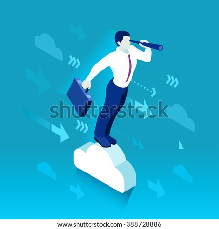Business Leader Character Finance Manager Businessman. Business Leadership Management. 3D Man Look the Horizon People Illustration. Data Scientist Man Business concept Image. Business Men Leaders. - stock photo