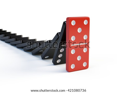 Business, leadership and teamwork concept - Red domino stops falling other dominoes. 3d render - stock photo