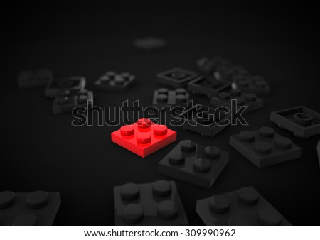 Business Leadership Strategic and Competitive Edge Concept Metaphor with Toy Plastic Blocks isolated in black Background - stock photo
