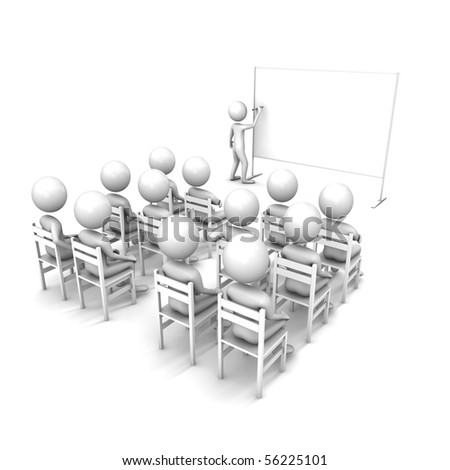 Business Lecture or conference.  lecture or presentation. Three-dimensional, isolated on white.