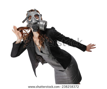 Business looking young adult woman wearing a personal gas mask and she posing lively - white background - stock photo