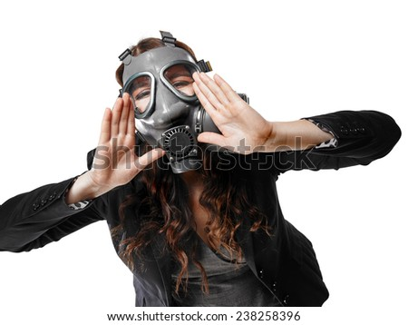 Business looking young adult woman wearing a personal gas mask and she shout - white background - stock photo