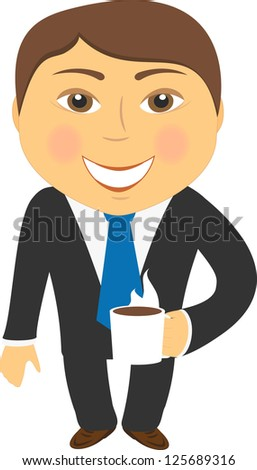 business lunch, isolated smiling businessman with hot coffee cup - stock photo