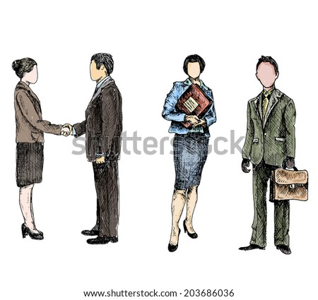 Business male female people colored sketch set isolated  illustration