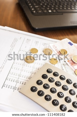 business man, accounts on the office - stock photo