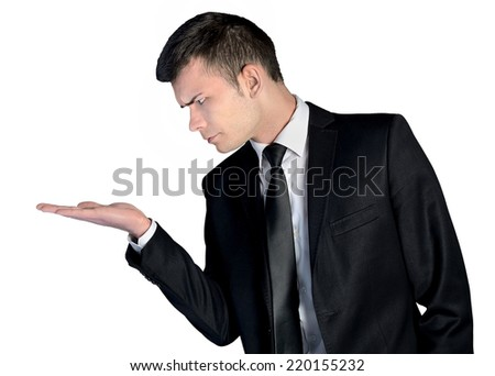 Business man amazed presenting nothing